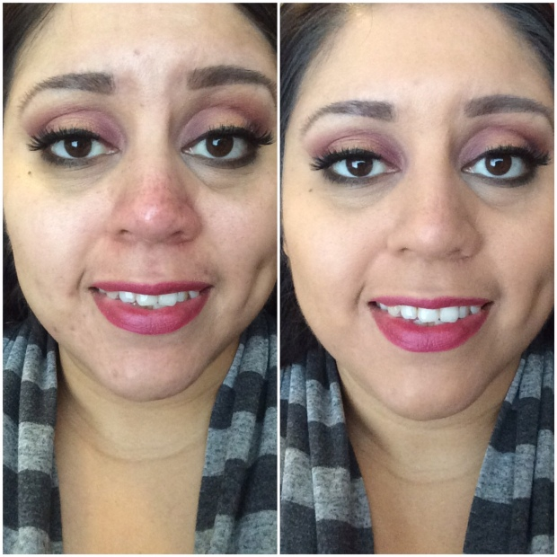 No primer and prior to putting on any powder or the rest of my face makeup
