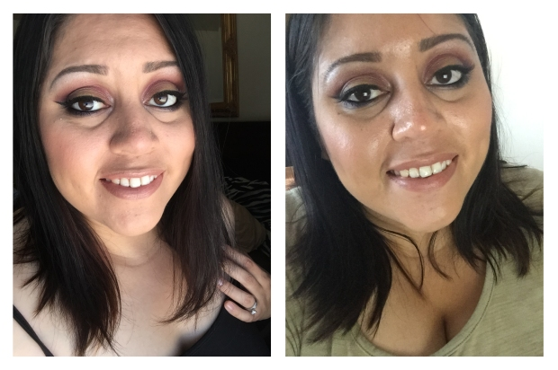 Left: Right after I finished my makeup.  Right: 2 hours after wearing this foundation.